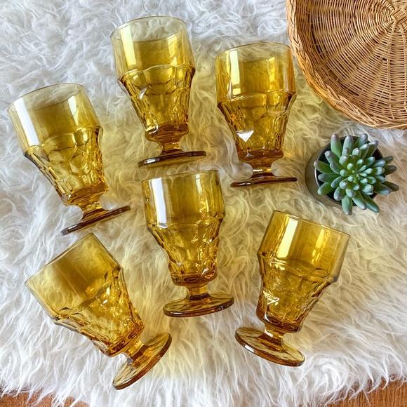 Vintage MCM Amber Drinking Goblet Glasses - Set of 6